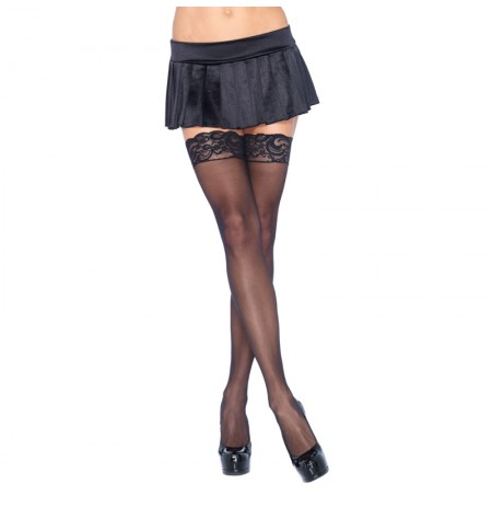 Leg Avenue Plus Size Sheer Thigh Highs Black