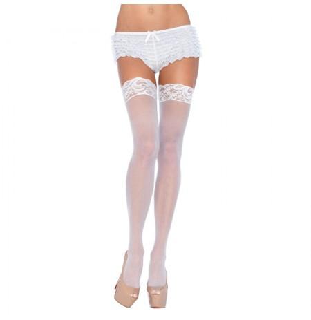 Leg Avenue Plus Size Sheer Thigh Highs White